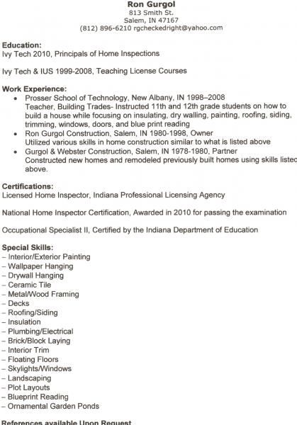 sample resume home inspectors resume